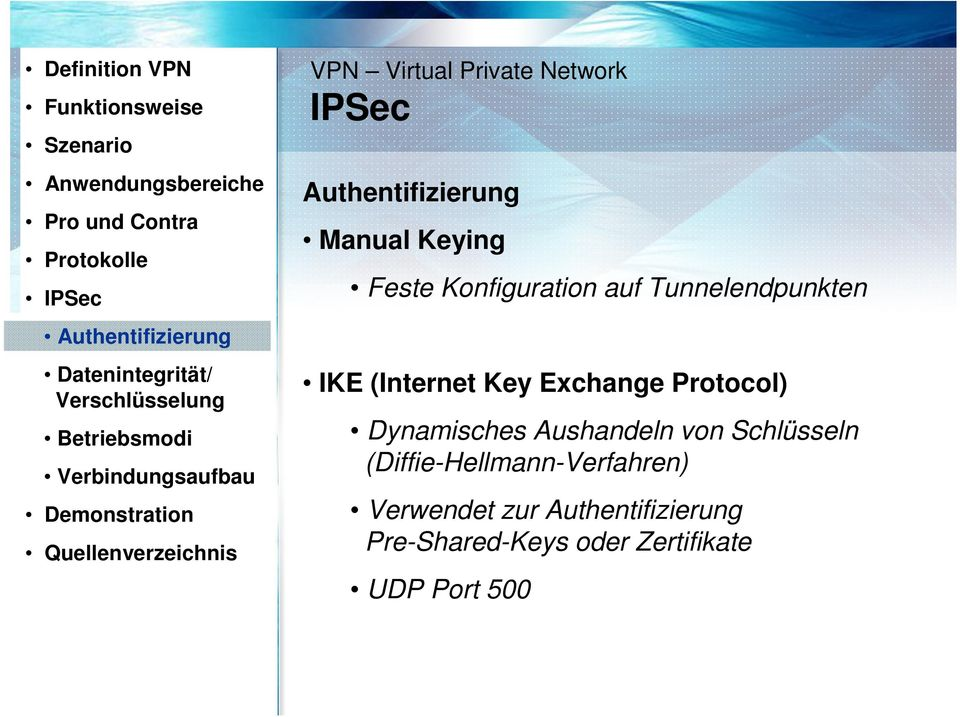 Network IPSec Authentifizierung Manual Keying Feste Konfiguration auf Tunnelendpunkten IKE (Internet Key Exchange