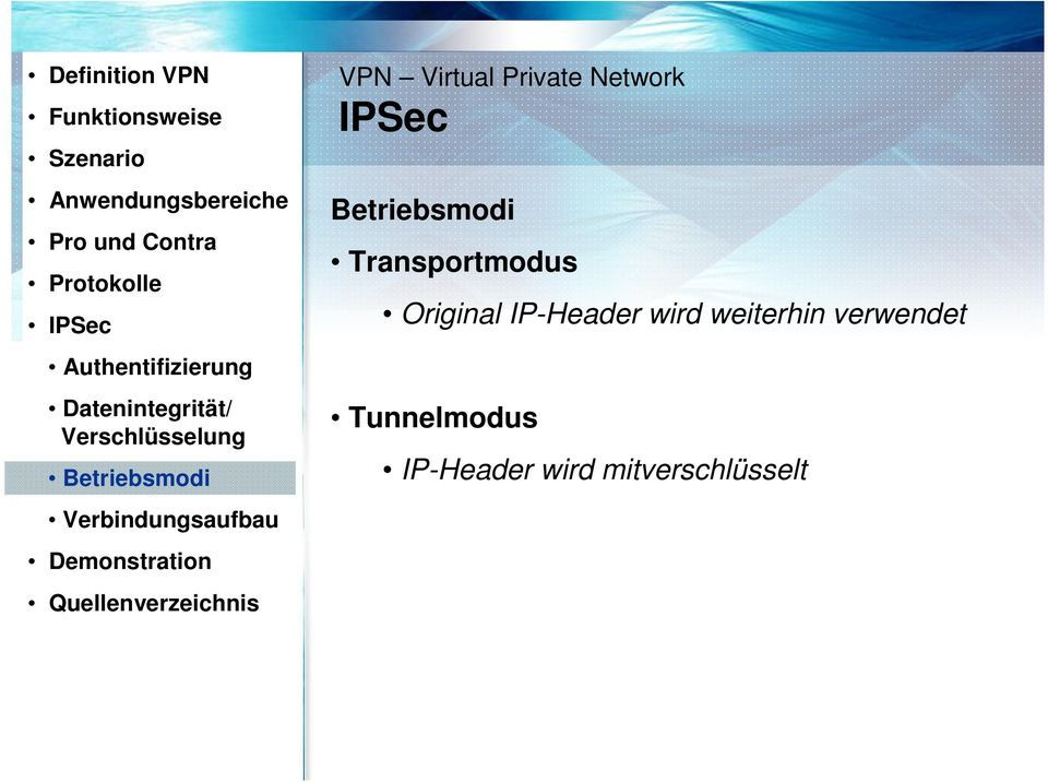 Demonstration Quellenverzeichnis VPN Virtual Private Network IPSec Betriebsmodi