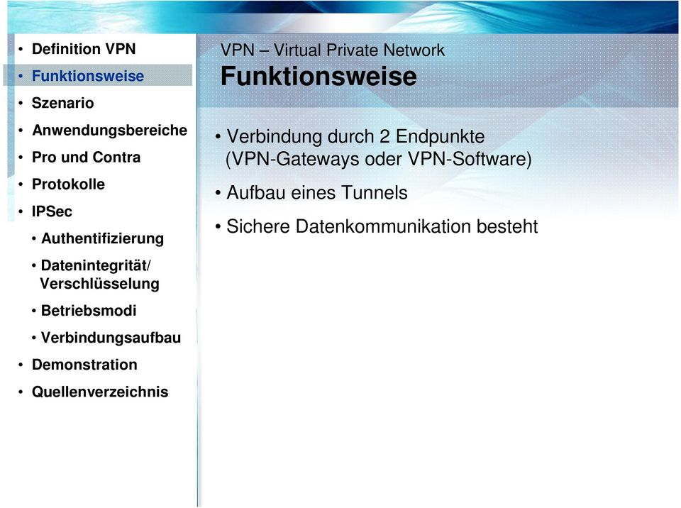 Demonstration Quellenverzeichnis VPN Virtual Private Network Funktionsweise Verbindung