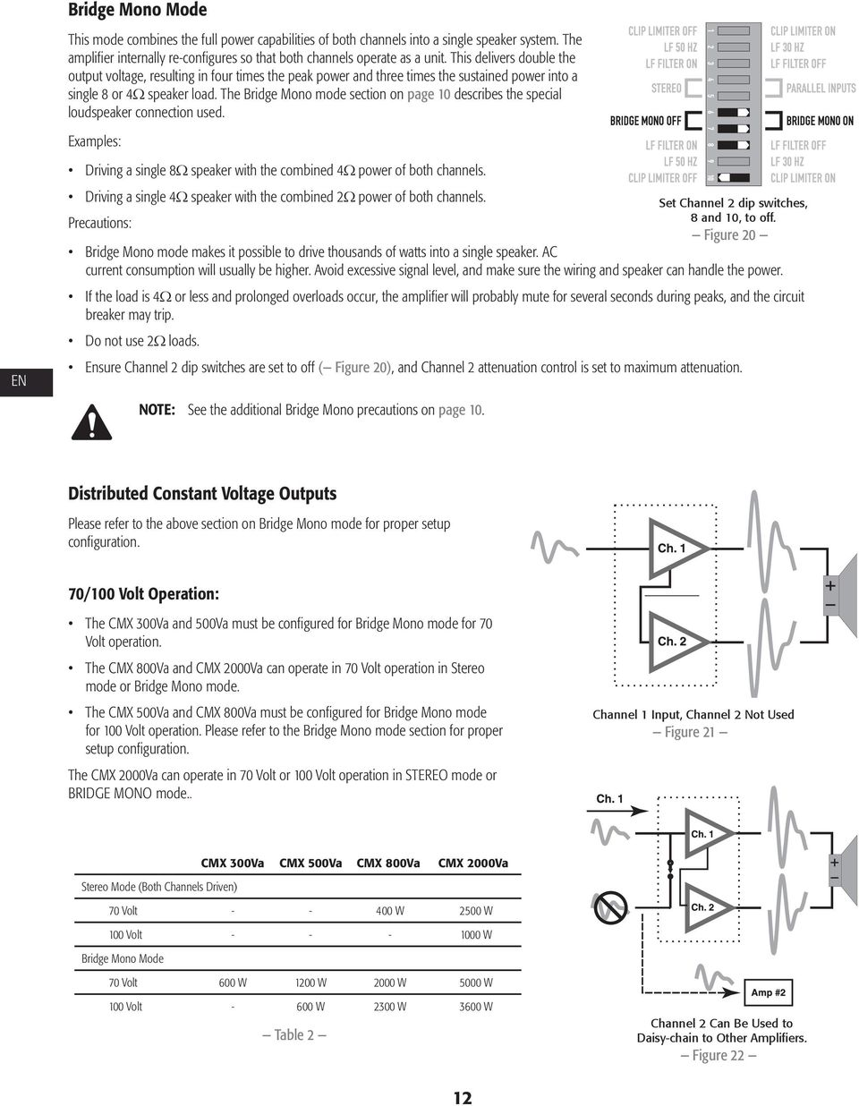 The Bridge Mono mode section on page 10 describes the special loudspeaker connection used. Examples: EN ò Driving a single 8 speaker with the combined 4 power of both channels.