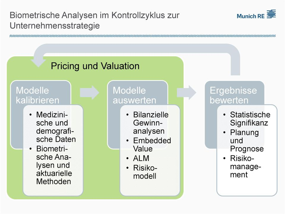 aktuarielle Methoden Modelle auswerten Bilanzielle Gewinnanalysen Embedded Value ALM