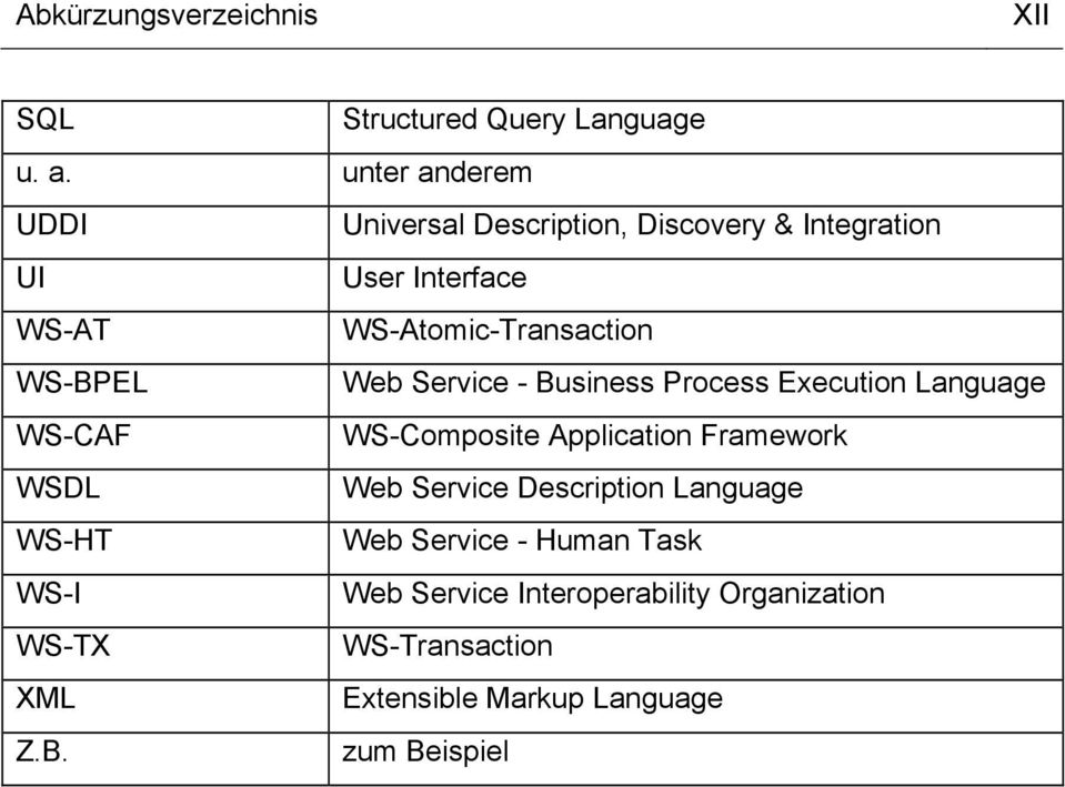 WS-BPEL Web Service - Business Process Execution Language WS-CAF WS-Composite Application Framework WSDL Web