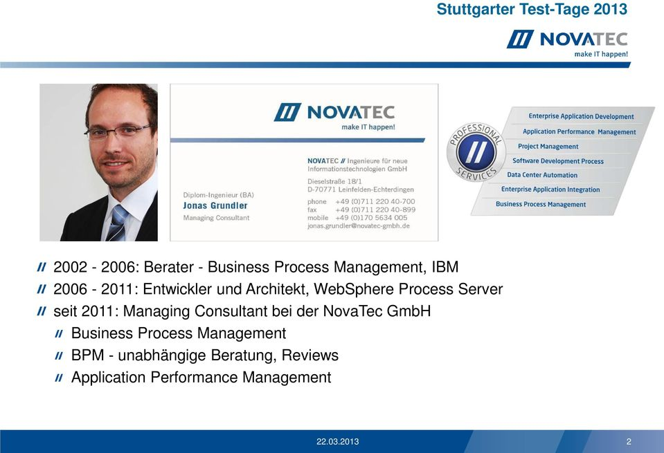 Managing Consultant bei der NovaTec GmbH Business Process Management