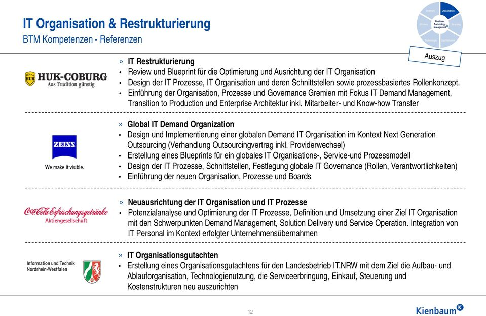 Einführung der Organisation, Prozesse und Governance Gremien mit Fokus IT Demand, Transition to Production und Enterprise Architektur inkl.