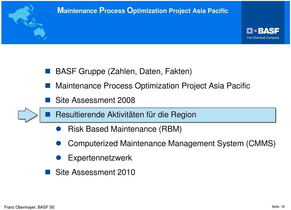 für die Region Risk Based Maintenance (RBM) Computerized Maintenance