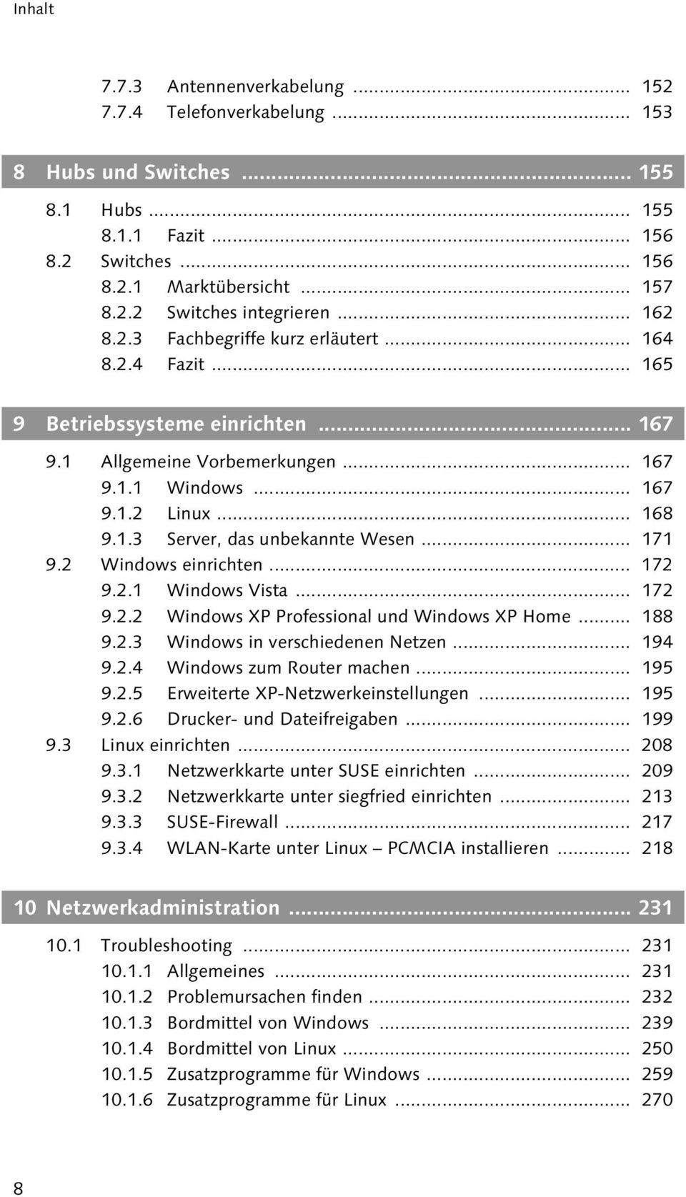 .. 171 9.2 Windows einrichten... 172 9.2.1 Windows Vista... 172 9.2.2 Windows XP Professional und Windows XP Home... 188 9.2.3 Windows in verschiedenen Netzen... 194 9.2.4 Windows zum Router machen.