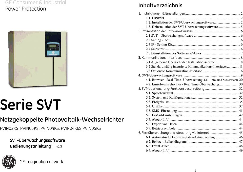 Präsentation der Software-Paketes... 6 2.1 SVT - Überwachungssoftware... 6 2.2 Setting -Tool... 6 2.3 IP - Setting Kit... 6 2.4 Selbsttest... 6 2.5 Deinstallation des Software-Paketes... 7 3.
