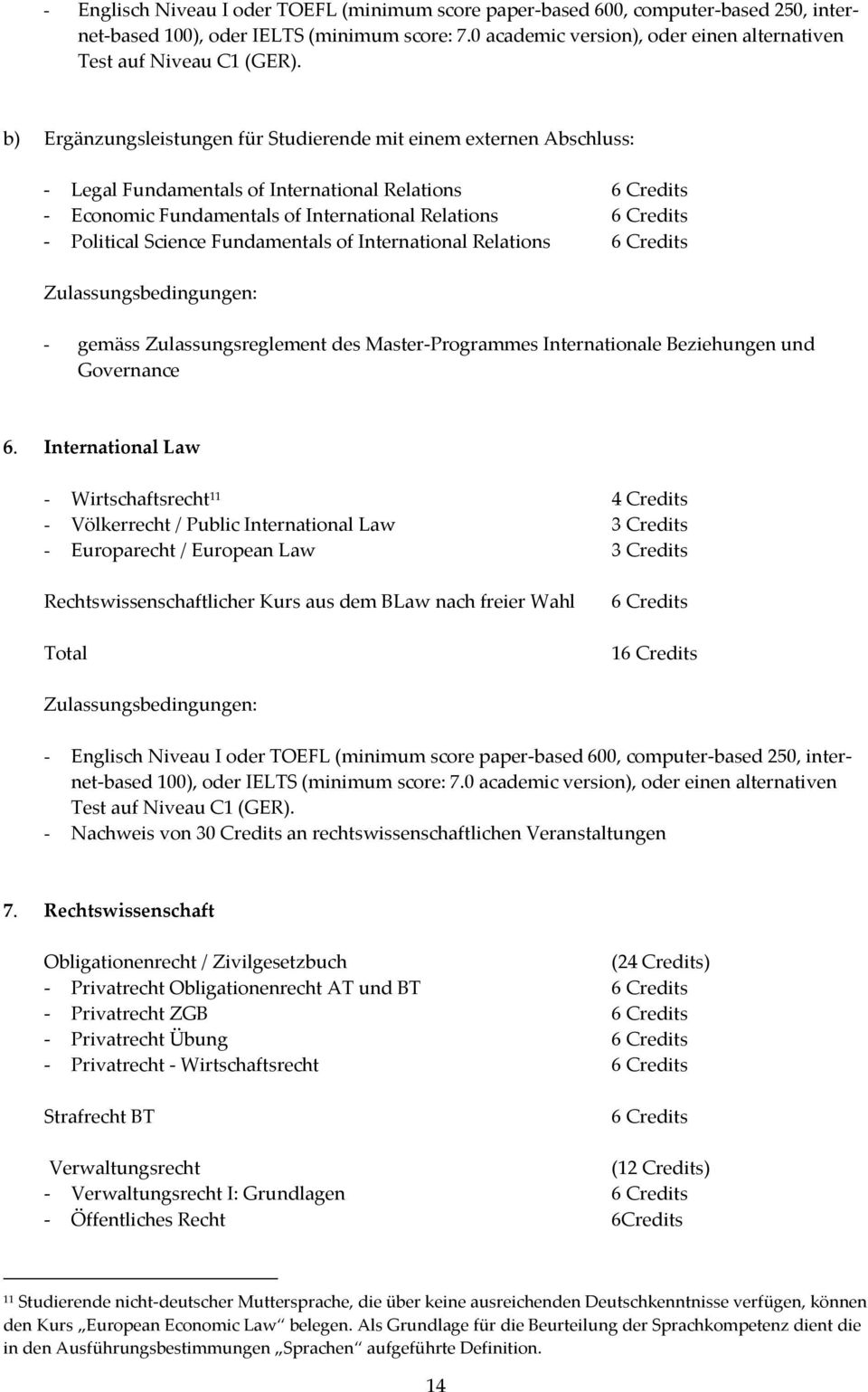 b) Ergänzungsleistungen für Studierende mit einem externen Abschluss: Legal Fundamentals of International Relations 6 Credits Economic Fundamentals of International Relations 6 Credits Political