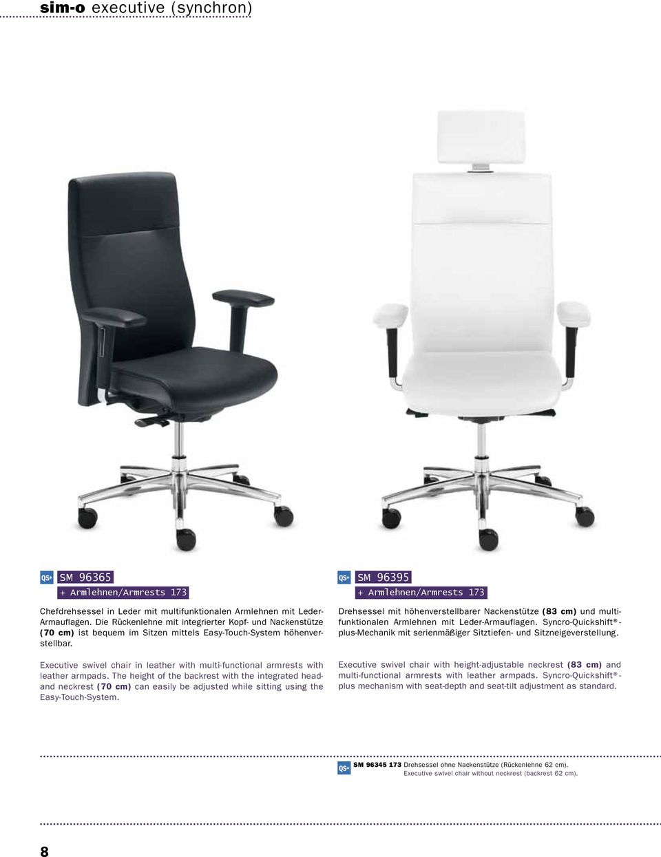 Executive swivel chair in leather with multi-functional armrests with leather armpads.