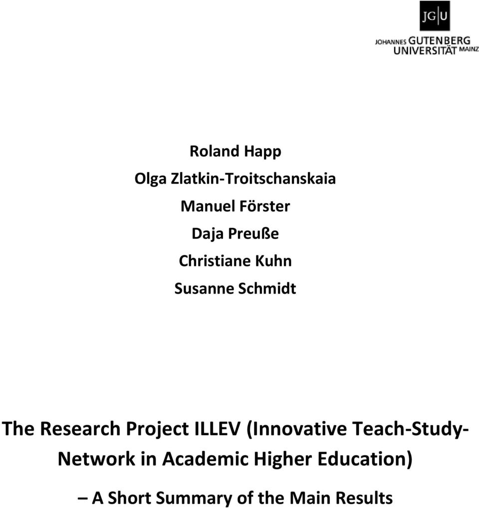 Project ILLEV (Innovative Teach-Study- Network in