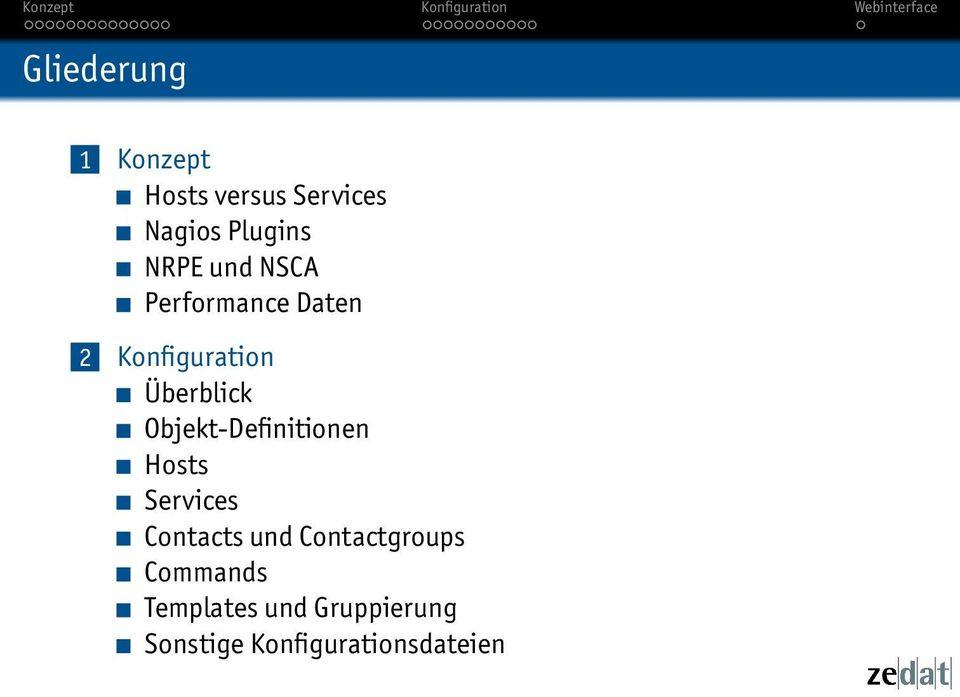 Objekt-Definitionen Hosts Services Contacts und