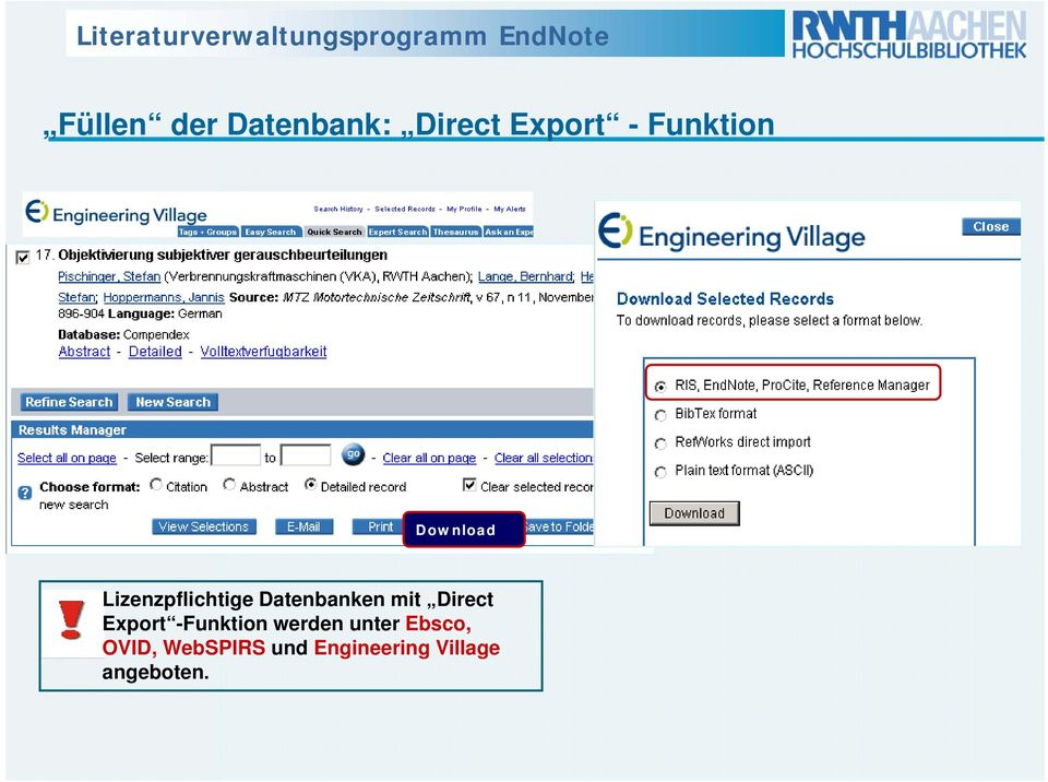 Datenbanken mit Direct Export -Funktion