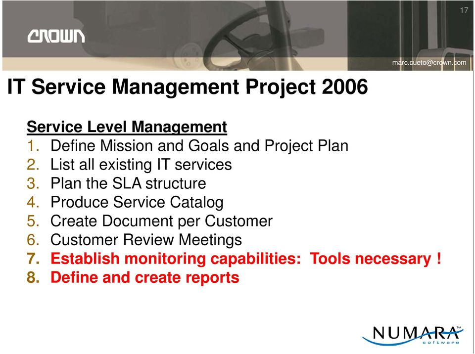 Plan the SLA structure 4. Produce Service Catalog 5. Create Document per Customer 6.