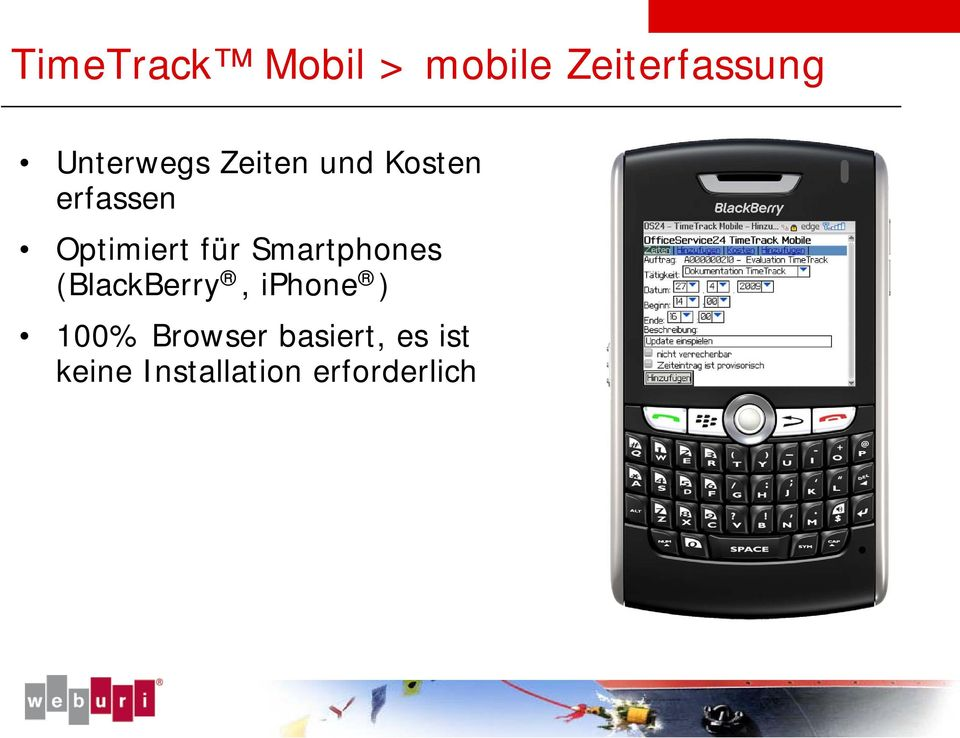 Optimiert für Smartphones (BlackBerry, iphone
