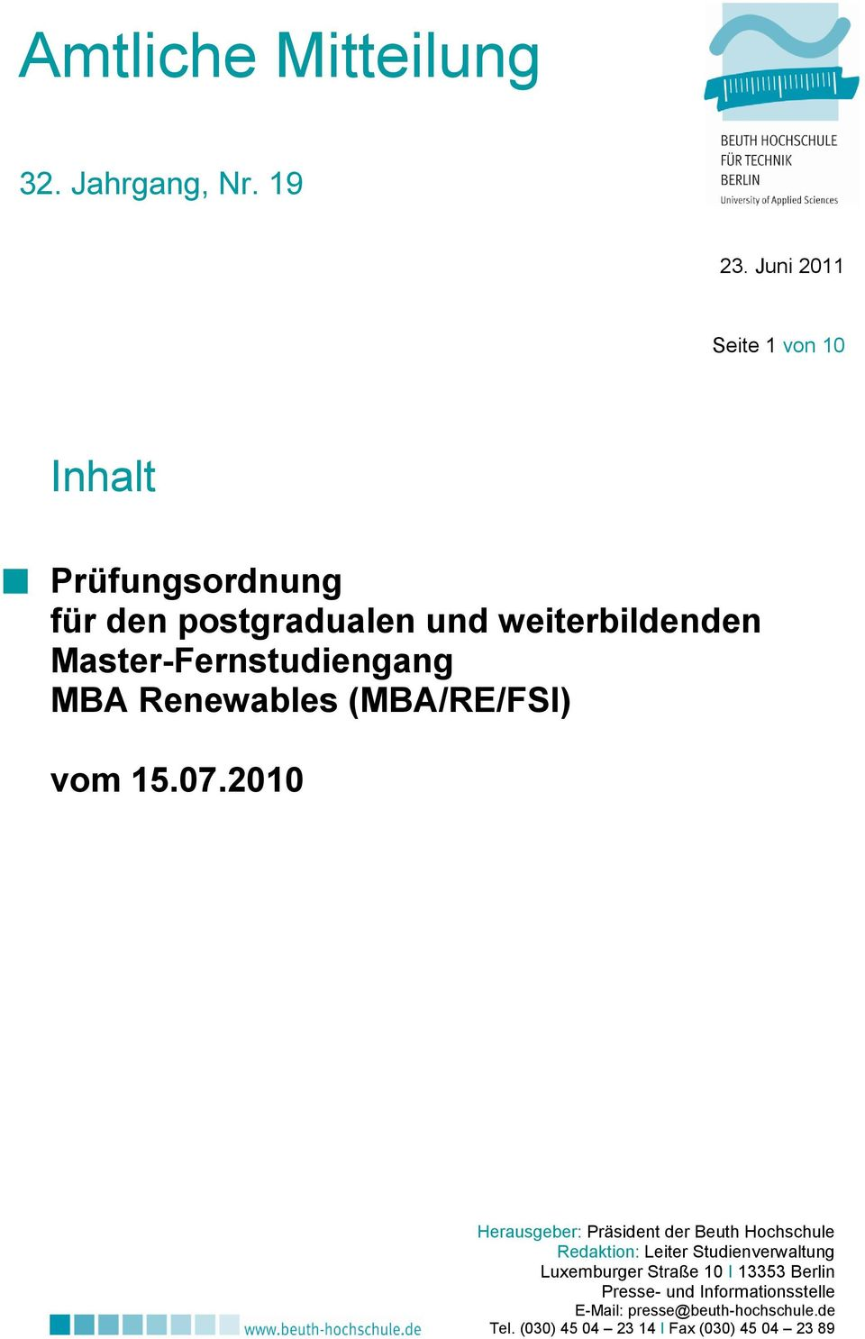 Master-Fernstudiengang MBA Renewables (MBA/RE/FSI) vom 15.07.