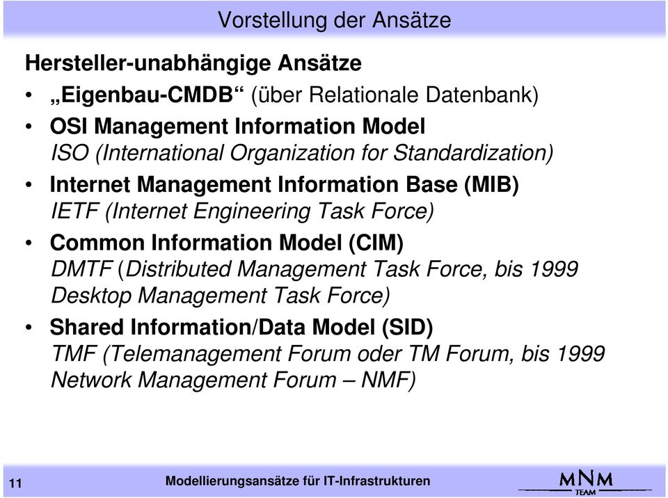 Common Information Model (CIM) DMTF (Distributed Management Task Force, bis 1999 Desktop Management Task Force) Shared