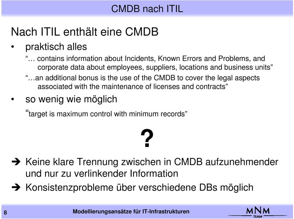 the maintenance of licenses and contracts so wenig wie möglich target is maximum control with minimum records?
