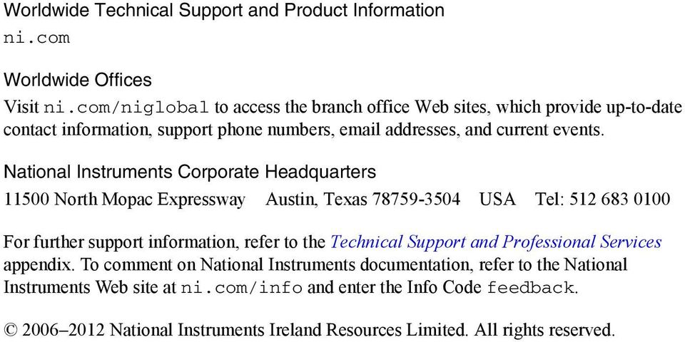 National Instruments Corporate Headquarters 11500 North Mopac Expressway Austin, Texas 78759-3504 USA Tel: 512 683 0100 For further support information, refer to the