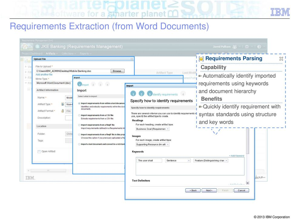requirements using keywords and document hierarchy Benefits