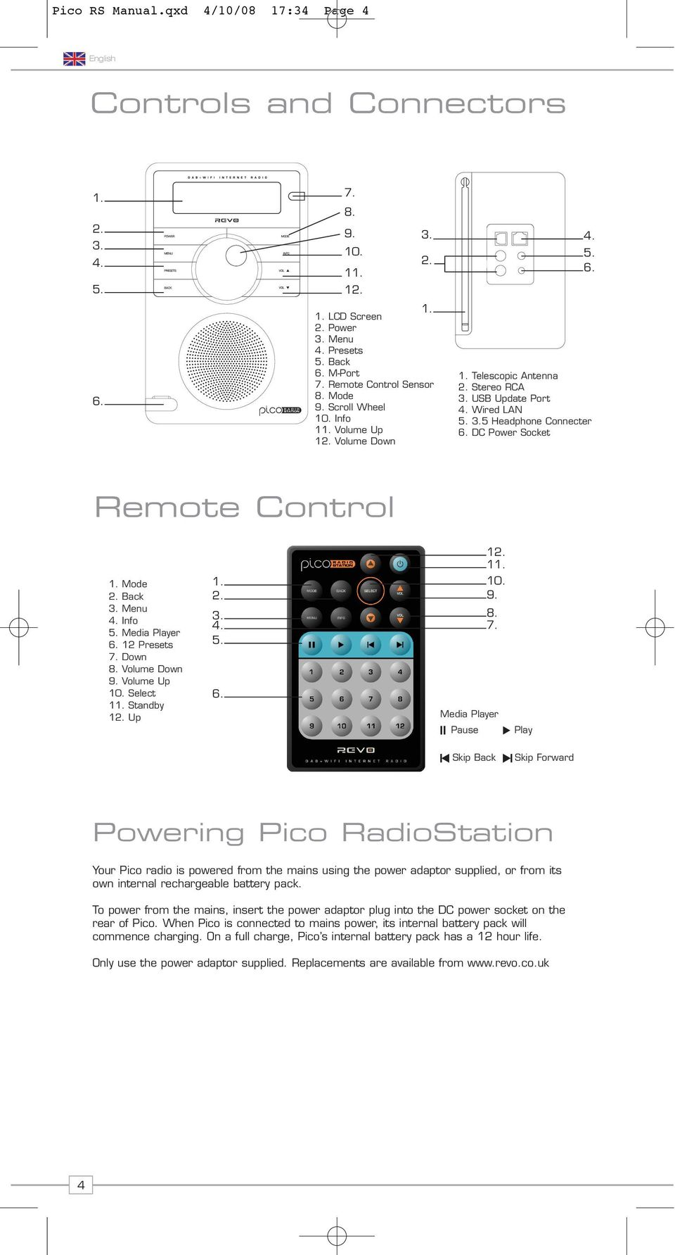 DC Power Socket Remote Control 1. Mode 2. Back 1. 2. 10. 9. 3. Menu 4. Info 3. 8. 4. 7. 5. Media Player 6. 12 Presets 5. 7. Down 8. Volume Down 9. Volume Up 10. Select 6. 11. Standby 12.