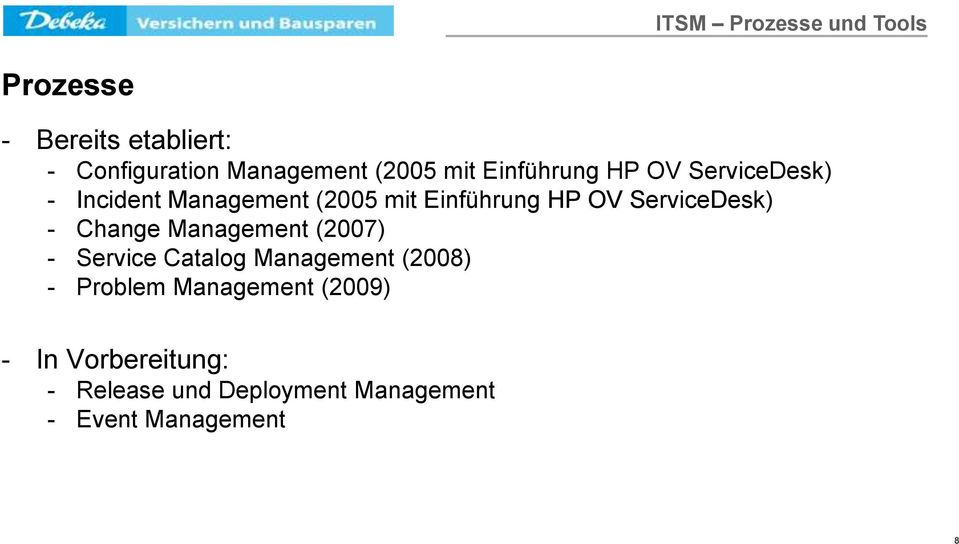 ServiceDesk) - Change Management (2007) - Service Catalog Management (2008) - Problem