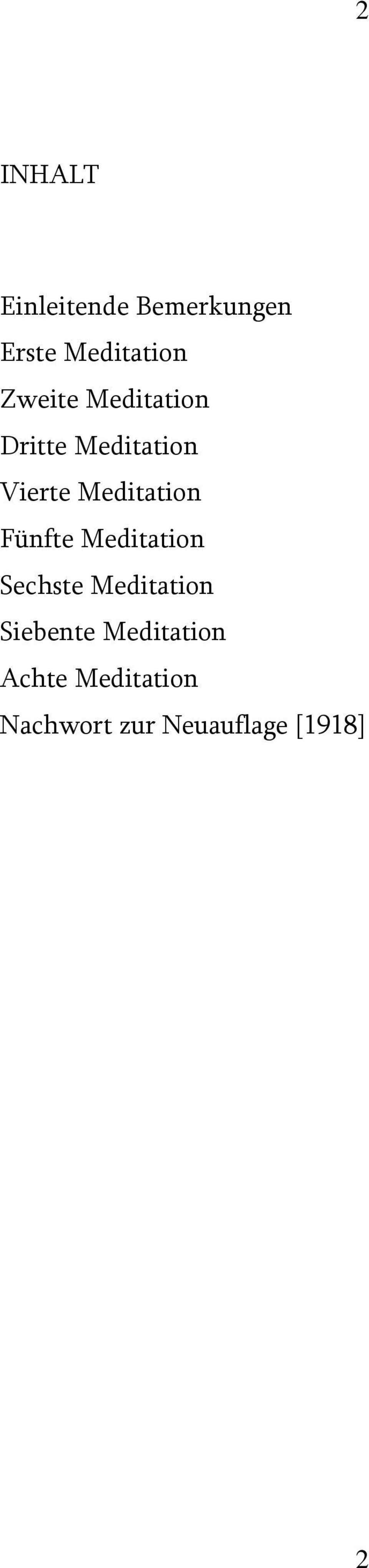 Meditation Fünfte Meditation Sechste Meditation
