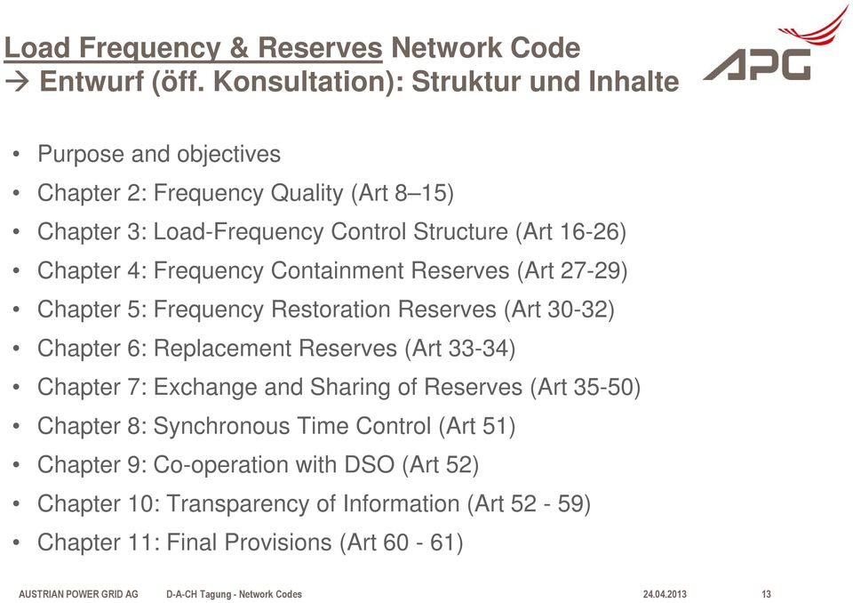 16-26) Chapter 4: Frequency Containment Reserves (Art 27-29) Chapter 5: Frequency Restoration Reserves (Art 30-32) Chapter 6: Replacement Reserves (Art