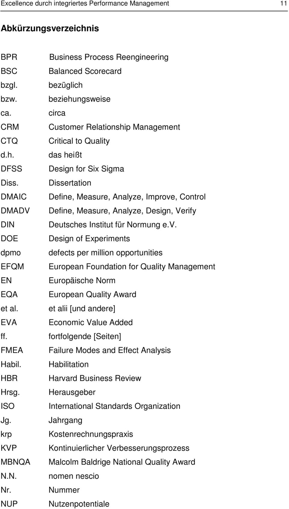 NUP Business Process Reengineering Balanced Scorecard bezüglich beziehungsweise circa Customer Relationship Management Critical to Quality das heißt Design for Si Sigma Dissertation Define, Measure,