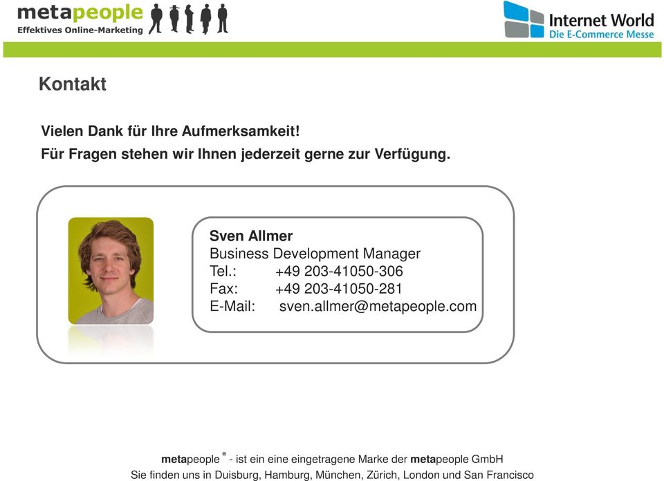 Sven Allmer Business Development Manager Tel.
