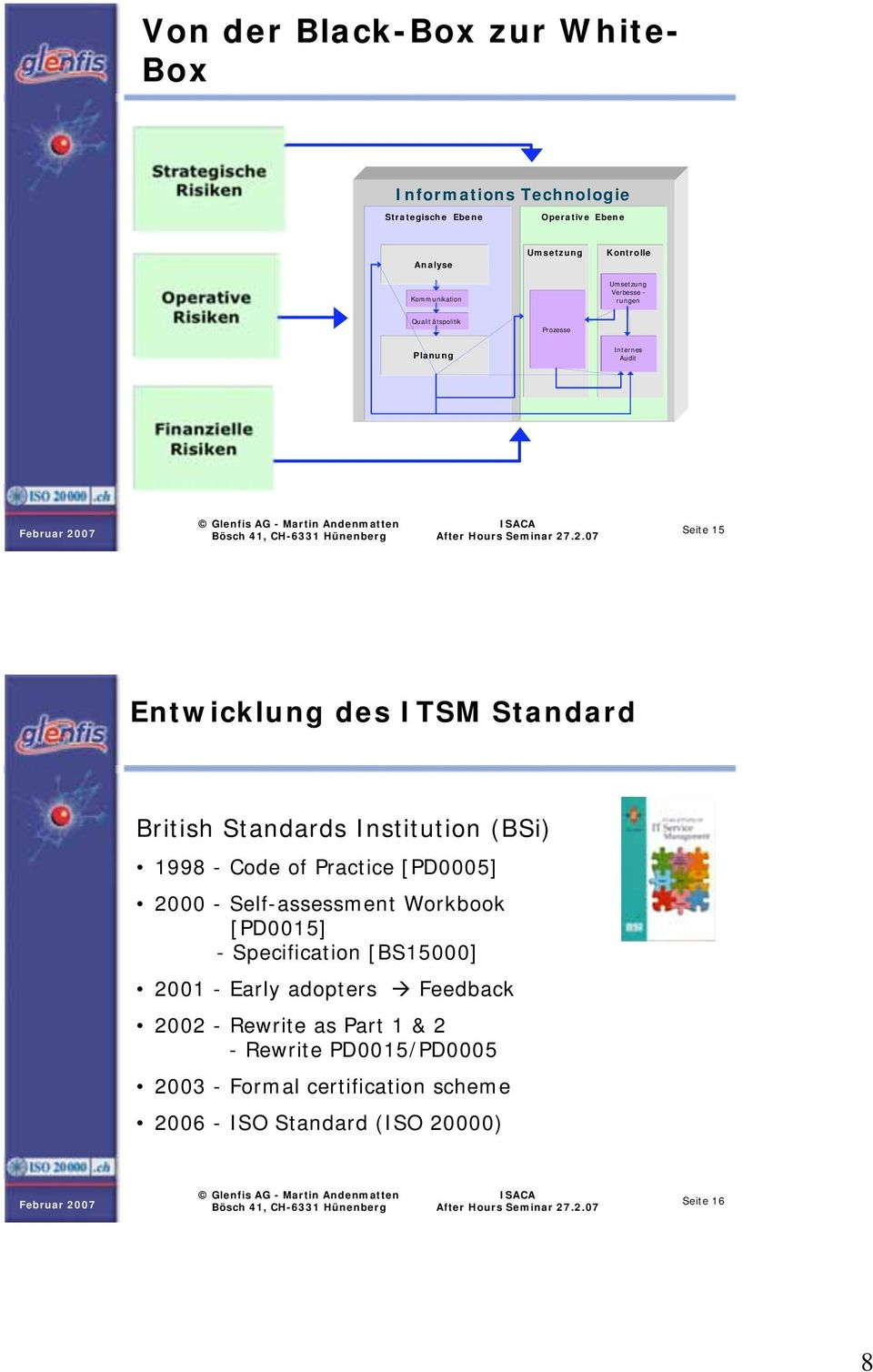 Standard British Standards Institution (BSi) 1998 - Code of Practice [PD0005] 2000 - Self-assessment Workbook [PD0015] - Specification [BS15000] 2001 -