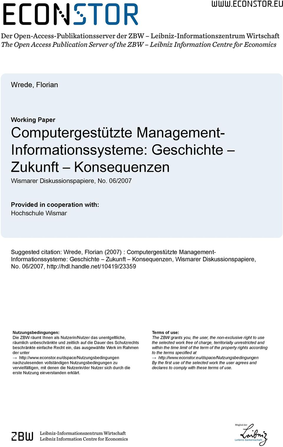 eu Der Open-Access-Publikationsserver der ZBW Leibniz-Informationszentrum Wirtschaft The Open Access Publication Server of the ZBW Leibniz Information Centre for Economics Wrede, Florian Working