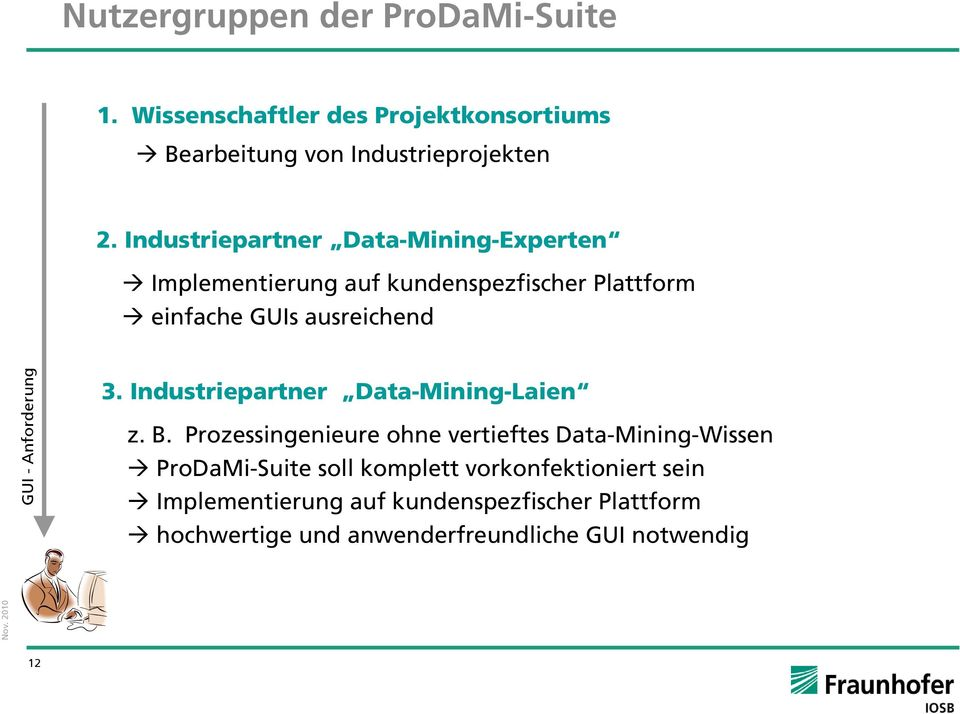 Anforderung 3. Industriepartner Data-Mining-Laien z. B.