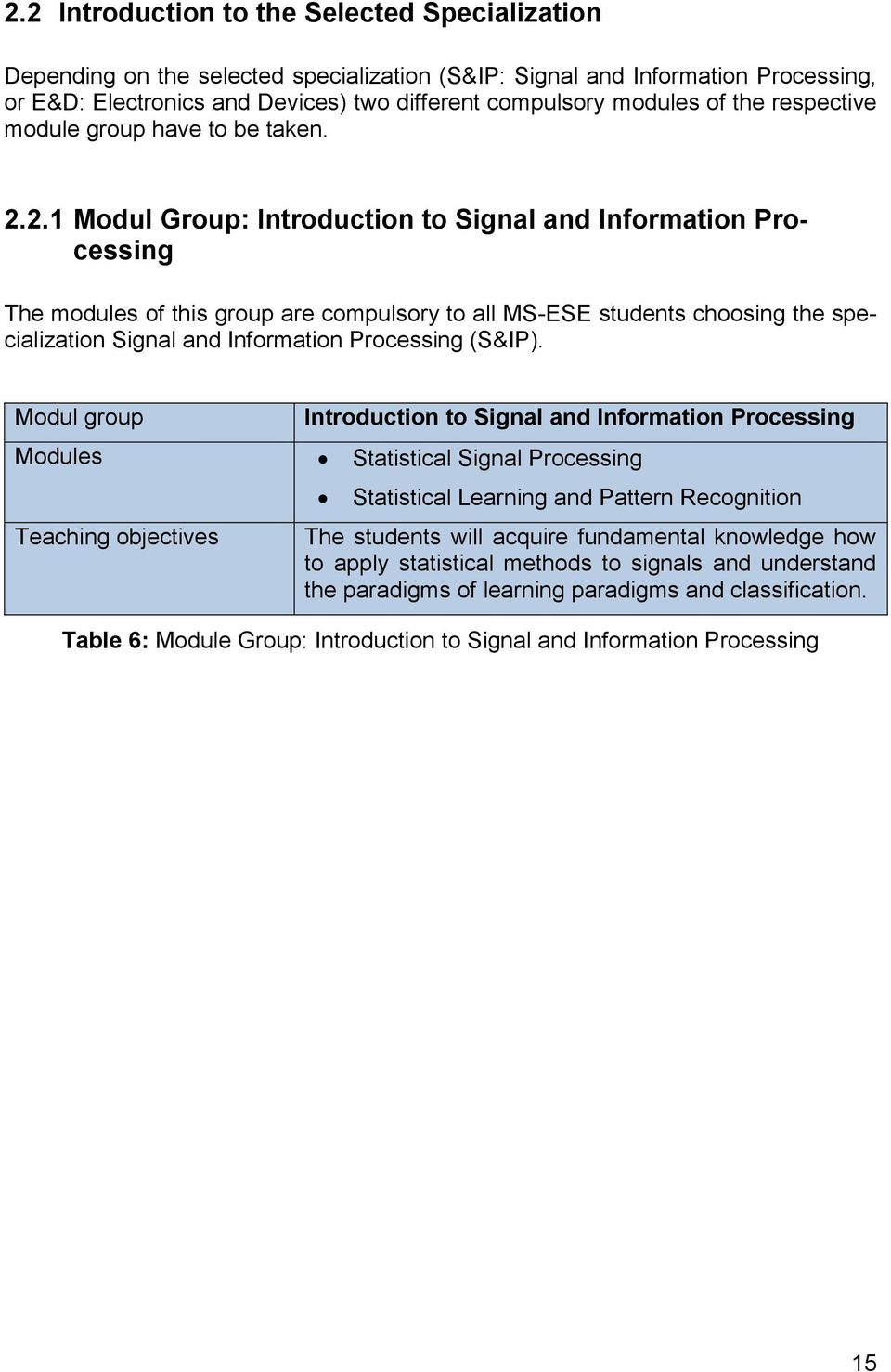 2.1 Modul Group: Introduction to Signal and Information Processing The modules of this group are compulsory to all MS-ESE students choosing the specialization Signal and Information Processing (S&IP).