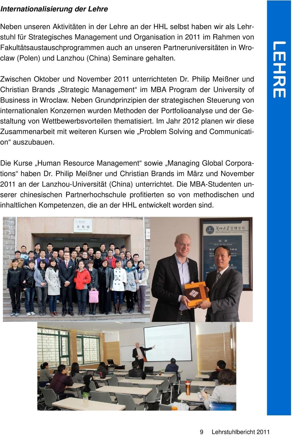 Philip Meißner und Christian Brands Strategic Management im MBA Program der University of Business in Wroclaw.
