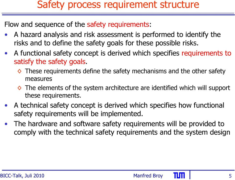 These requirements define the safety mechanisms and the other safety measures The elements of the system architecture are identified which will support these requirements.