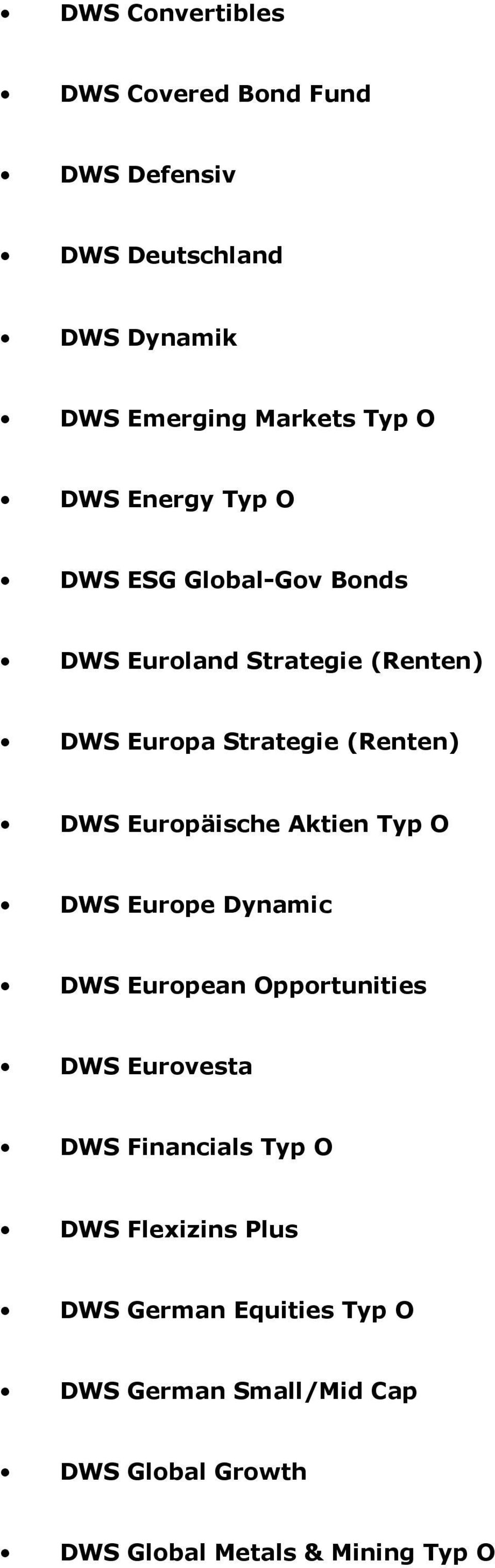 Europäische Aktien Typ O DWS Europe Dynamic DWS European Opportunities DWS Eurovesta DWS Financials Typ O DWS