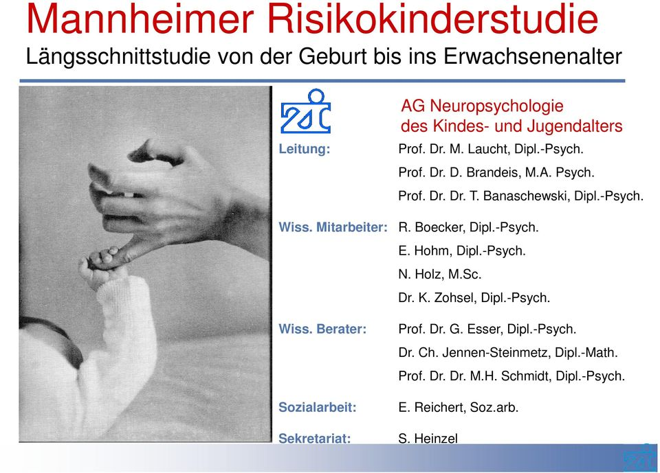 Mitarbeiter: R. Boecker, Dipl.-Psych. E. Hohm, Dipl.-Psych. N. Holz, M.Sc. Dr. K. Zohsel, Dipl.-Psych. Wiss. Berater: Prof. Dr. G.