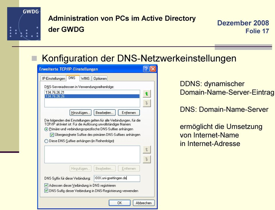Domain-Name-Server-Eintrag DNS: