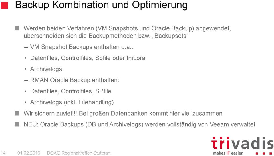 ora Archivelogs RMAN Oracle Backup enthalten: Datenfiles, Controlfiles, SPfile Archivelogs (inkl.
