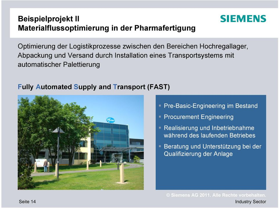 Palettierung Fully Automated Supply and Transport (FAST) Pre-Basic-Engineering im Bestand Procurement Engineering