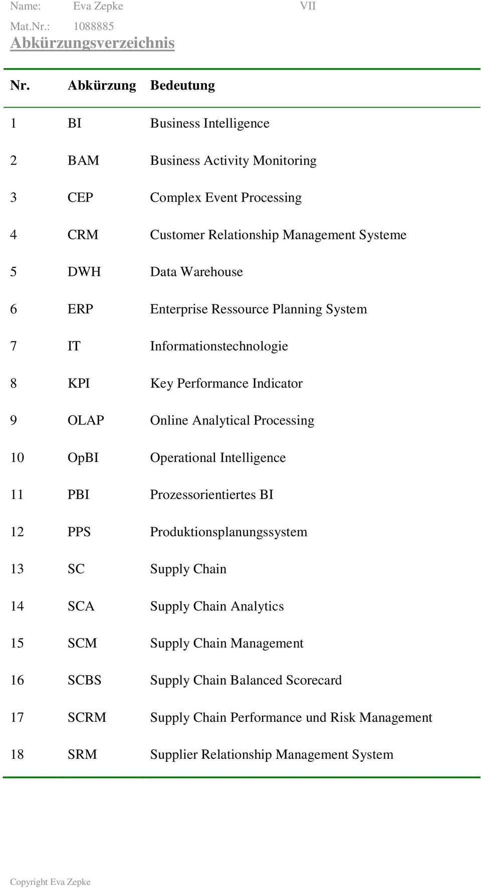 Warehouse 6 ERP Enterprise Ressource Planning System 7 IT Informationstechnologie 8 KPI Key Performance Indicator 9 OLAP Online Analytical Processing 10 OpBI Operational