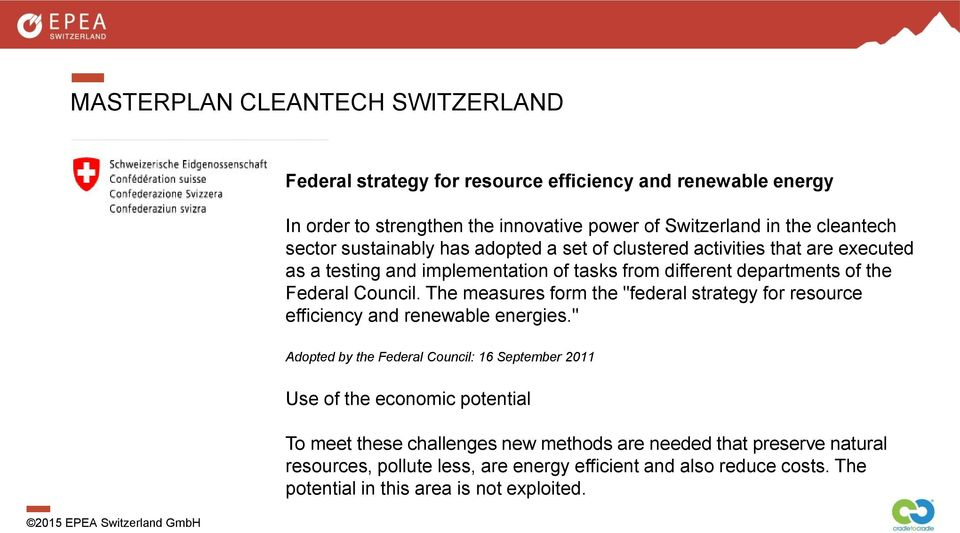 "The measures form the ""federal strategy for resource efficiency and renewable energies."