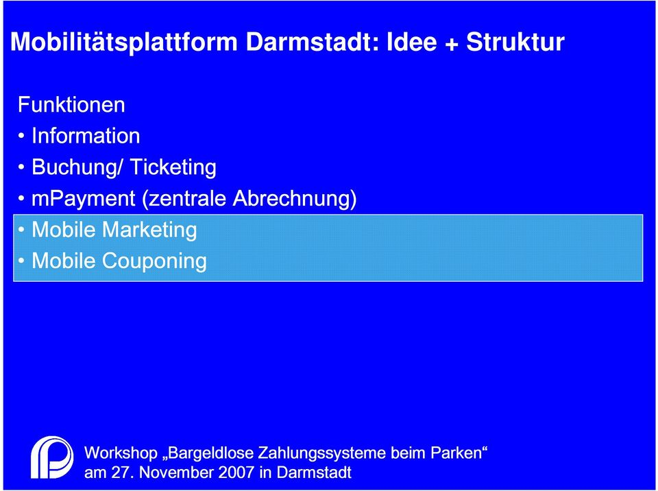 Buchung/ Ticketing mpayment (zentrale