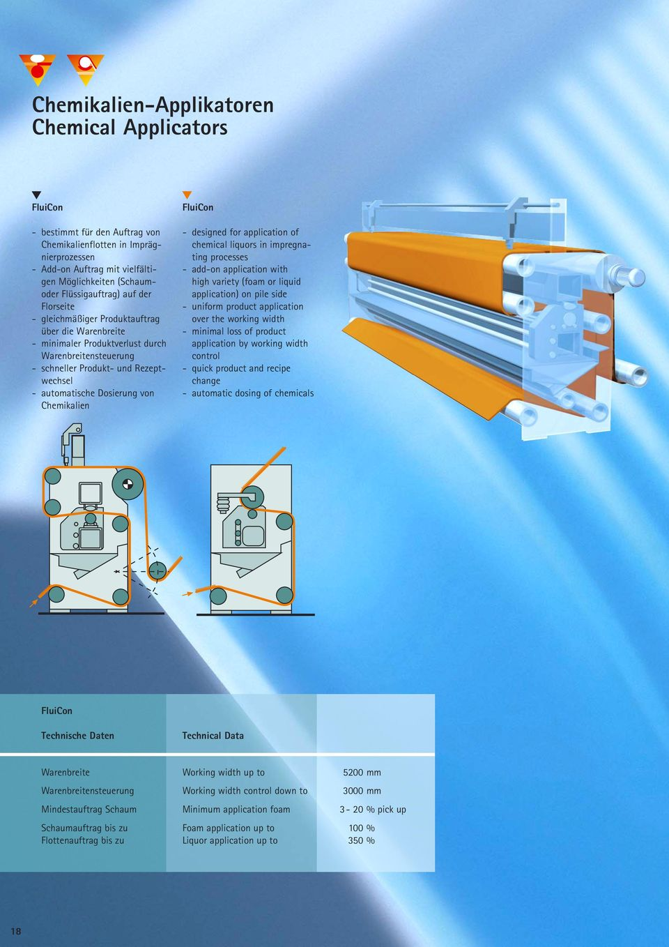Dosierung von Chemikalien FluiCon - designed for application of chemical liquors in impregnating processes - add-on application with high variety (foam or liquid application) on pile side - uniform