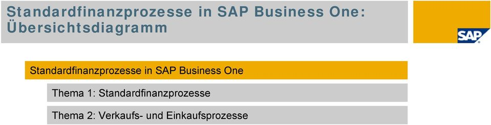 SAP Business One Thema 1: