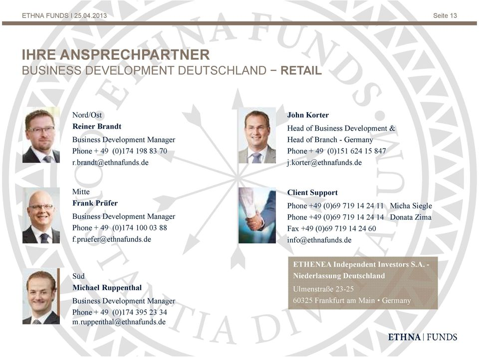de Mitte Frank Prüfer Business Development Manager Phone + 49 (0)174 100 03 88 f.pruefer@ethnafunds.