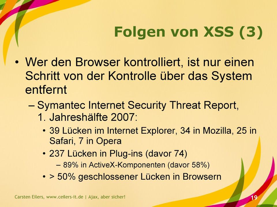 Jahreshälfte 2007: 39 Lücken im Internet Explorer, 34 in Mozilla, 25 in Safari, 7 in Opera 237 Lücken in