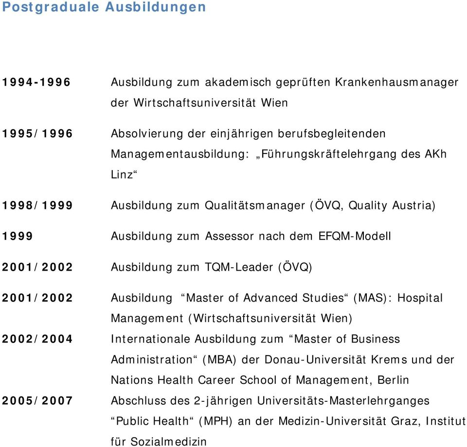 TQM-Leader (ÖVQ) 2001/2002 Ausbildung Master of Advanced Studies (MAS): Hospital Management (Wirtschaftsuniversität Wien) 2002/2004 Internationale Ausbildung zum Master of Business Administration