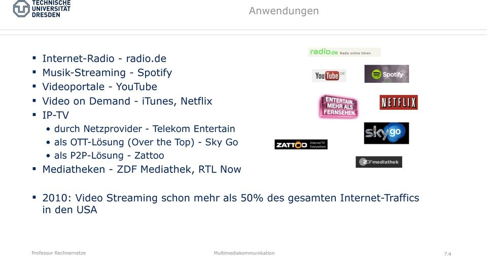 IP-TV durch Netzprovider - Telekom Entertain als OTT-Lösung (Over the Top) - Sky Go als