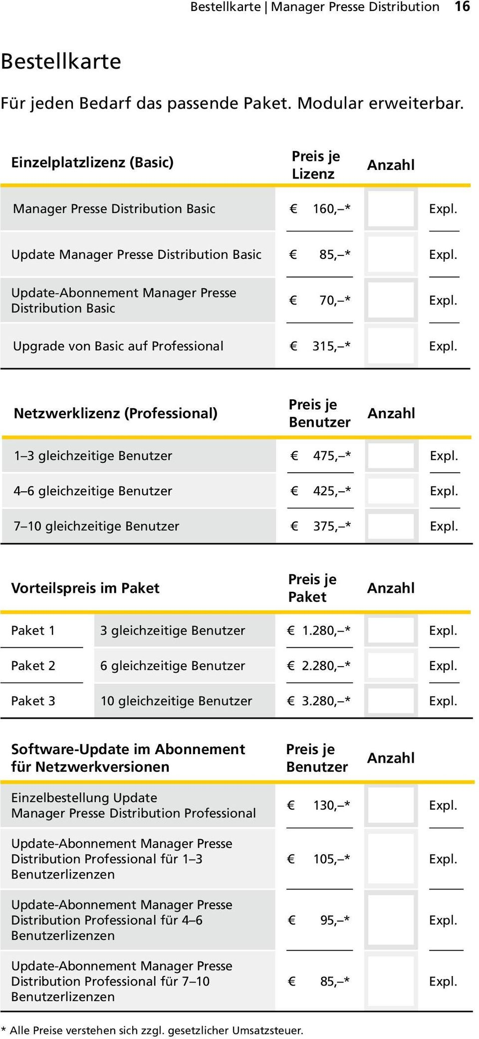 Update-Abonnement Manager Presse Distribution Basic 70, * Epl. Upgrade von Basic auf Professional 315, * Epl.